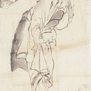 葛飾北斎「洗濯女と久来仙画稿」