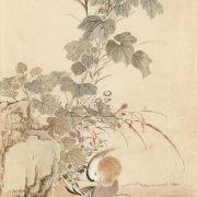 山本梅逸模写「秋草に鴛鴦-模写」